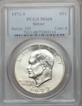 Eisenhower Dollars: , 1972-S $1 Silver MS68 PCGS. PCGS Population (1537/15). NGC Census:(397/5). Mintage: 2,193,056. Numismedia Wsl. Price for p...