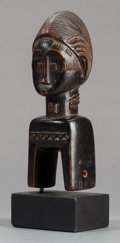 Tribal Art, Baule (Côte d'Ivoire, Western Africa). Heddle pulley with humanhead. Wood. Height: 8-3/4 inches. ...