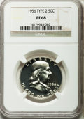 Proof Franklin Half Dollars, 1956 50C Type Two PR68 NGC. NGC Census: (2910/543). PCGS Population(636/28). Mintage: 669,384. Numismedia Wsl. Price for p...
