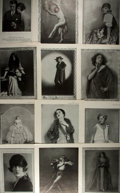 """Photography:Studio Portraits, Group of Twelve Portraits Taken from Theatre Magazine. 9.5"""" x 13"""". Removed from larger evidence with rough edges to ..."""
