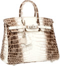 Luxury Accessories:Bags, Hermes Extremely Rare 25cm Matte White Himalayan Nilo CrocodileBirkin Bag with Palladium Hardware. ...