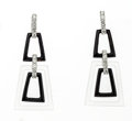 Estate Jewelry:Earrings, Diamond, Black Onyx, Frosted Rock Crystal Quartz, White GoldEarrings, Eli Frei. ...