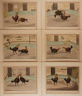 Books:Prints & Leaves, C.R. Stock. Group of Six Hand-Colored Engravings DepictingCockfighting. London: W.C. Lee, [n.d., ca. mid-19th century]. ...
