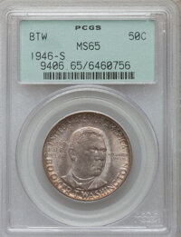 1946-S 50C Booker T. Washington MS65 PCGS. PCGS Population (1418/527). NGC Census: (914/499). Mintage: 500,279. Numismed...
