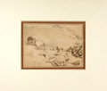 Books:Original Art, Thomas Rowlandson (1756-1827, engraver). Original Pencil Drawing with Watercolor Accents, Rocks on Isle of Wight. N....