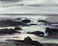 ROBERT WILLIAM WOOD (American, 1889-1979) Surf at Laguna Beach, circa 1973 Oil on canvas 16 x 20