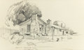 "Fine Art - Work on Paper:Drawing, Attributed to EDWARD MUEGGE ""BUCK"" SCHIWETZ (American, 1898-1984).General Robertson's Homestead. Pencil on paper. 9-1/2..."