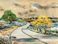 """EDWARD MUEGGE """"BUCK"""" SCHIWETZ (American, 1898-1984) Texas Highway in Spring, 1946 Mixed media on pap"""