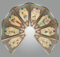 EIGHT ART NOUVEAU PAINTED CAROUSEL PANELS, early 20th century Mixed media on board 78-1/4 x 56 inches wide (198