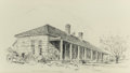 "Fine Art - Work on Paper:Drawing, EDWARD MUEGGE ""BUCK"" SCHIWETZ (American, 1898-1984). OldGuardhouse, Fort Clark, 1952. Pencil on paper. 7-3/4 x 13-3/4i..."