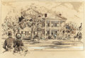 """Works on Paper, EDWARD MUEGGE """"BUCK"""" SCHIWETZ (American, 1898-1984). Colonial Home. Watercolor and ink with white highlights on paper. 1..."""