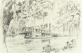 "Fine Art - Work on Paper:Drawing, EDWARD MUEGGE ""BUCK"" SCHIWETZ (American, 1898-1984).Sternwheeler on Bayou Teche, Louisiana, 1953. Pencil onpaper. 12-1..."