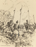 """Works on Paper, EDWARD MUEGGE """"BUCK"""" SCHIWETZ (American, 1898-1984). Reunion with Spaniards. Ink and conté crayon on paper. 14-3/8 x 11-..."""