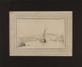 Books:Original Art, (Artist Unknown). Original Pen and Ink Drawing of a Sailing Ship. Matted to an overall size of 11.5 x 9.5 inches. Some minor...