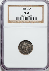 1868 3CN PR66 NGC. NGC Census: (20/0). PCGS Population (7/0). Mintage: 600. Numismedia Wsl. Price for problem free NGC/P...