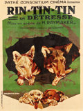 "Movie Posters:Adventure, Rin-Tin-Tin in Distress (Warner Brothers, 1920s). French Grande(47"" X 63"").. ..."