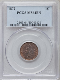 1872 1C MS64 Brown PCGS. PCGS Population (42/8). NGC Census: (41/20). Mintage: 4,042,000. Numismedia Wsl. Price for prob...