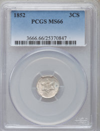 1852 3CS MS66 PCGS. PCGS Population (90/14). NGC Census: (99/14). Mintage: 18,663,500. Numismedia Wsl. Price for problem...