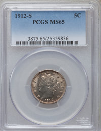 1912-S 5C MS65 PCGS. PCGS Population (190/14). NGC Census: (96/5). Mintage: 238,000. Numismedia Wsl. Price for problem f...