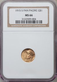 1915-S G$1 Panama-Pacific Gold Dollar MS66 NGC. NGC Census: (588/66). PCGS Population (754/60). Mintage: 15,000. Numisme...