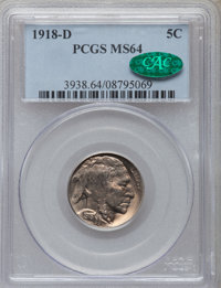 1918-D 5C MS64 PCGS. CAC. PCGS Population (227/89). NGC Census: (122/35). Mintage: 8,362,000. Numismedia Wsl. Price for...