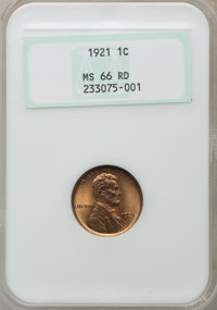 1921 1C MS66 Red NGC. NGC Census: (25/1). PCGS Population (67/11). Mintage: 39,157,000. Numismedia Wsl. Price for proble...