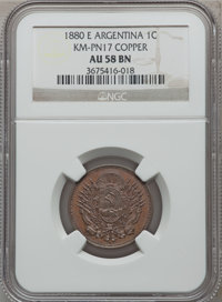 Argentina: Republic Pattern Centavo in copper 1880-E