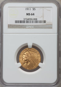 1911 $5 MS64 NGC. NGC Census: (467/49). PCGS Population (413/55). Mintage: 915,000. Numismedia Wsl. Price for problem fr...