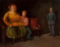 Fine Art - Painting, American:Modern  (1900 1949)  , JACK LEVITZ (American, 20th Century). Heavyset Woman and Boy onBench. Oil on canvas. 24 x 30 inches (61.0 x 76.2 cm). S...