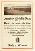 "Movie Posters:Miscellaneous, Harley-Davidson Motorcycles (Harley Davidson, 1915). Advertising Poster (22"" X 32.5"") & Promotional Material (2) (8"" X 11"" &... (Total: 3 Items)"