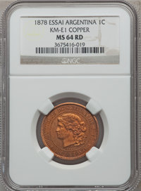 Argentina: Republic copper Essai 1 Centavo 1878