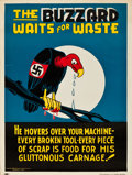 "Movie Posters:War, World War II Propaganda (McGovern-Anderson Co., 1942). Poster (18""X 24"") ""The Buzzard Waits for Waste."". ..."