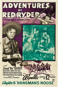 "Adventures of Red Ryder (Republic, 1940). One Sheet (27"" X 41"") Chapter 6 -- ""Hangman's Noose."""