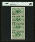 Obsoletes By State:New Hampshire, Concord, NH- State Capital Bank 10¢-10¢-10¢-10¢ Nov. 1, 1862 Uncut Sheet of Four. ...