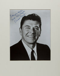 Ronald Reagan. Photograph Signed. Ca. 1970s. Photo is 8 x 10 inches; matted to an overall size of 11 x 14