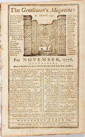 Miscellaneous:Newspaper, [Newspaper].The Gentleman's Magazine: For November 1776.London: D. Henry, 1776. Octavo. Includes a foldout map of C...
