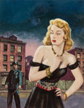 Pulp, Pulp-like, Digests, and Paperback Art, HOWELL DODD (American, b. 1910). Crimson Crimes of the LustfulLadies!, Best True Fact Detective magazine cover. Gouache...
