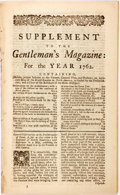 Miscellaneous:Newspaper, [Newspaper]. Supplement to the Gentleman's Magazine: For theYear 1762. London: 1762. Octavo. With four superb ...