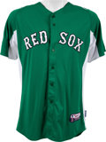 Baseball Collectibles:Uniforms, 2012 Jose Iglesias St. Patrick's Day Game Worn Boston Red SoxJersey....