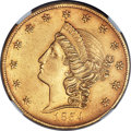 Territorial Gold, 1854 $20 Kellogg & Co. Twenty Dollar -- Rim Repair -- NGC Details. AU. K-1, R.5....