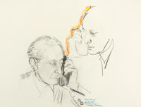 LARRY RIVERS (American, 1925-2002) Portrait of Paul Mocsanyi Pencil and crayon on paper 22-1/2 x