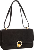 Hermes Black Veau Doblis Suede Sac Ring Shoulder Bag with Gold Hardware Very Good Condition 10.5""