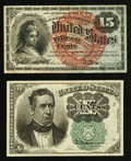 Fractional Currency:Fifth Issue, Fr. 1264 10¢ Fifth Issue XF. Fr. 1269 15¢ Fourth Issue Very Fine+.. ... (Total: 2 notes)