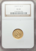 Liberty Quarter Eagles, 1840-O $2 1/2 XF45 NGC. Variety 1....