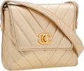 Luxury Accessories:Bags, Chanel Metallic Gold Chevron Quilted Lambskin Leather Shoulder Bagwith Gold Hardware. ...
