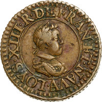 France: Louis XIII Piefort Denier 1618-A