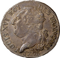 France: Republic 1/2 Ecu 1793-A