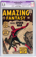Silver Age (1956-1969):Superhero, Amazing Fantasy #15 (Marvel, 1962) CGC Apparent VG- 3.5 Slight (A)Off-white to white pages....