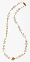 Estate Jewelry:Necklaces, South Sea Cultured Pearl, Yellow Sapphire, Gold Necklace. ...