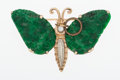 Estate Jewelry:Brooches - Pins, Jade, Diamond, Gold Brooch. ...